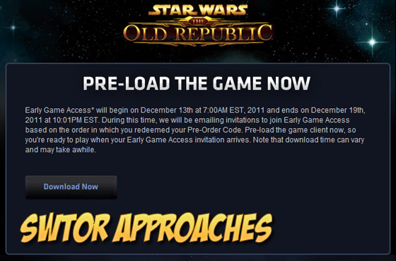 SWTOR Early Access Approaches